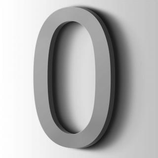 Kunststof Cijfer 0 Arial Acrylaat 7040 Window Grey