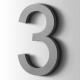 Kunststof Cijfer 3 Arial Acrylaat 7040 Window Grey