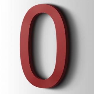 Kunststof Cijfer 0 Arial Acrylaat 3001 Signal Red