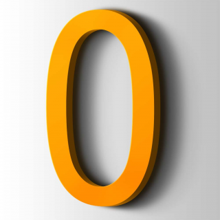 Kunststof Cijfer 0 Arial Acrylaat 1003 Signal Yellow