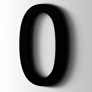 Kunststof Cijfer 0 Arial Acrylaat 9005 Jet Black