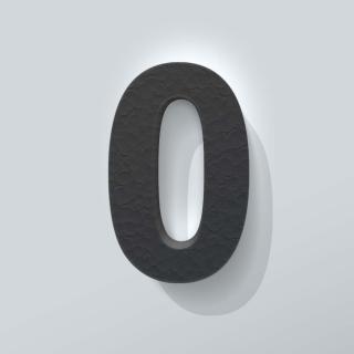 Zwart Piepschuim Cijfer 0 Arial