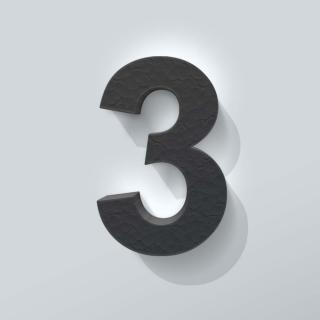 Zwart Piepschuim Cijfer 3 Arial
