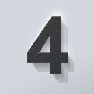 Zwart Piepschuim Cijfer 4 Arial