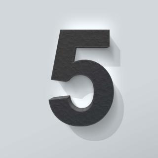 Zwart Piepschuim Cijfer 5 Arial