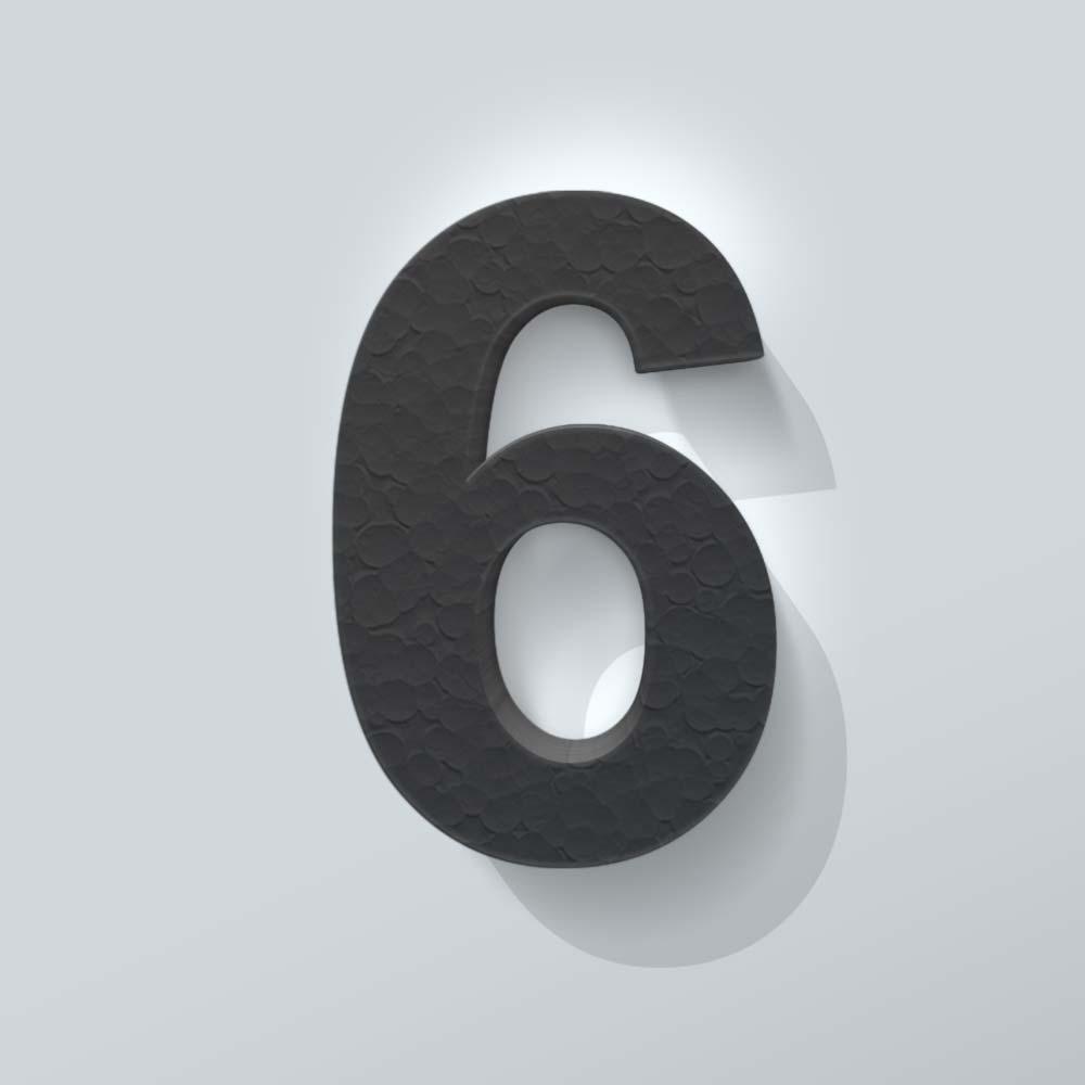Zwart Piepschuim Cijfer 6 Arial