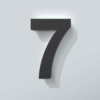 Zwart Piepschuim Cijfer 7 Arial