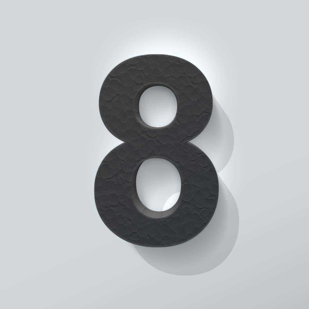 Zwart Piepschuim Cijfer 8 Arial