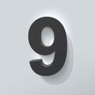 Zwart Piepschuim Cijfer 9 Arial