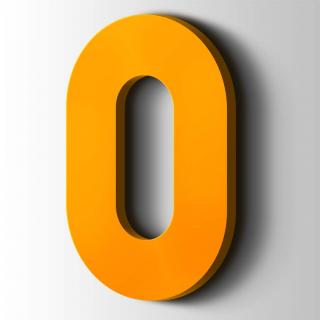 Kunststof Cijfer 0 Big John Acrylaat 1003 Signal Yellow