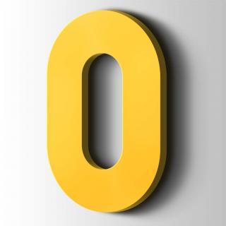 Kunststof Cijfer 0 Big John Acrylaat 1018 Zinc Yellow
