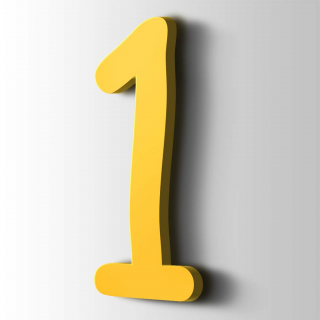 Kunststof Cijfer 1 Comic Sans Acrylaat 1018 Zinc Yellow