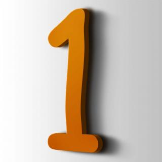Kunststof Cijfer 1 Comic Sans Acrylaat 2004 Pure Orange