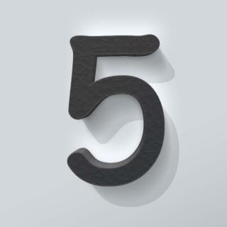 Zwart Piepschuim Cijfer 5 Comic Sans