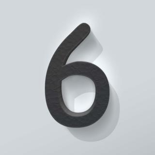 Zwart Piepschuim Cijfer 6 Comic Sans