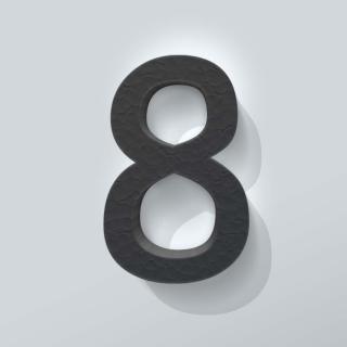 Zwart Piepschuim Cijfer 8 Comic Sans