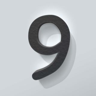 Zwart Piepschuim Cijfer 9 Comic Sans