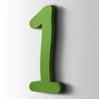 Kunststof Cijfer 1 Comic Sans Acrylaat 6018 Yellow Green