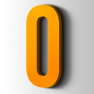 Kunststof Cijfer 0 Bebas Neue Acrylaat 1003 Signal Yellow