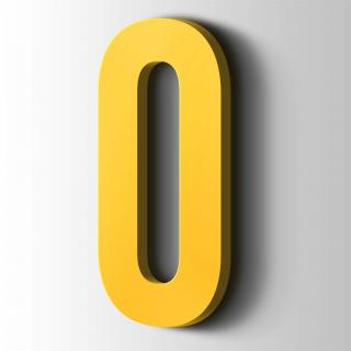 Kunststof Cijfer 0 Bebas Neue Acrylaat 1018 Zinc Yellow
