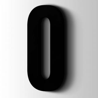 Kunststof Cijfer 0 Bebas Neue Acrylaat 9005 Jet Black