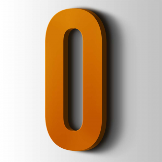 Kunststof Cijfer 0 Bebas Neue Acrylaat 2004 Pure Orange