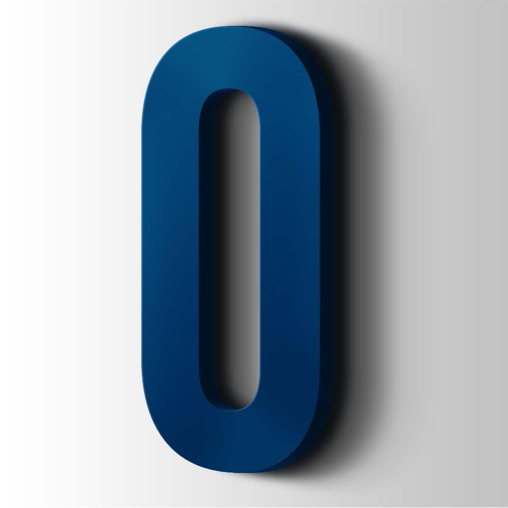 Kunststof Cijfer 0 Bebas Neue Acrylaat 5002 Ultramarine Blue