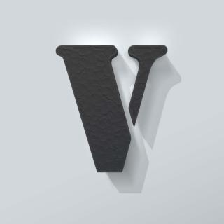 Zwart Piepschuim Letter V Stencil