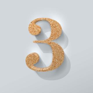 Kurken Cijfer 3 Bodoni