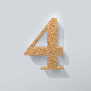 Kurken Cijfer 4 Bodoni