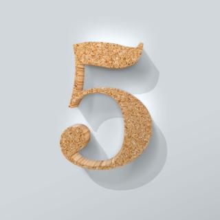 Kurken Cijfer 5 Bodoni