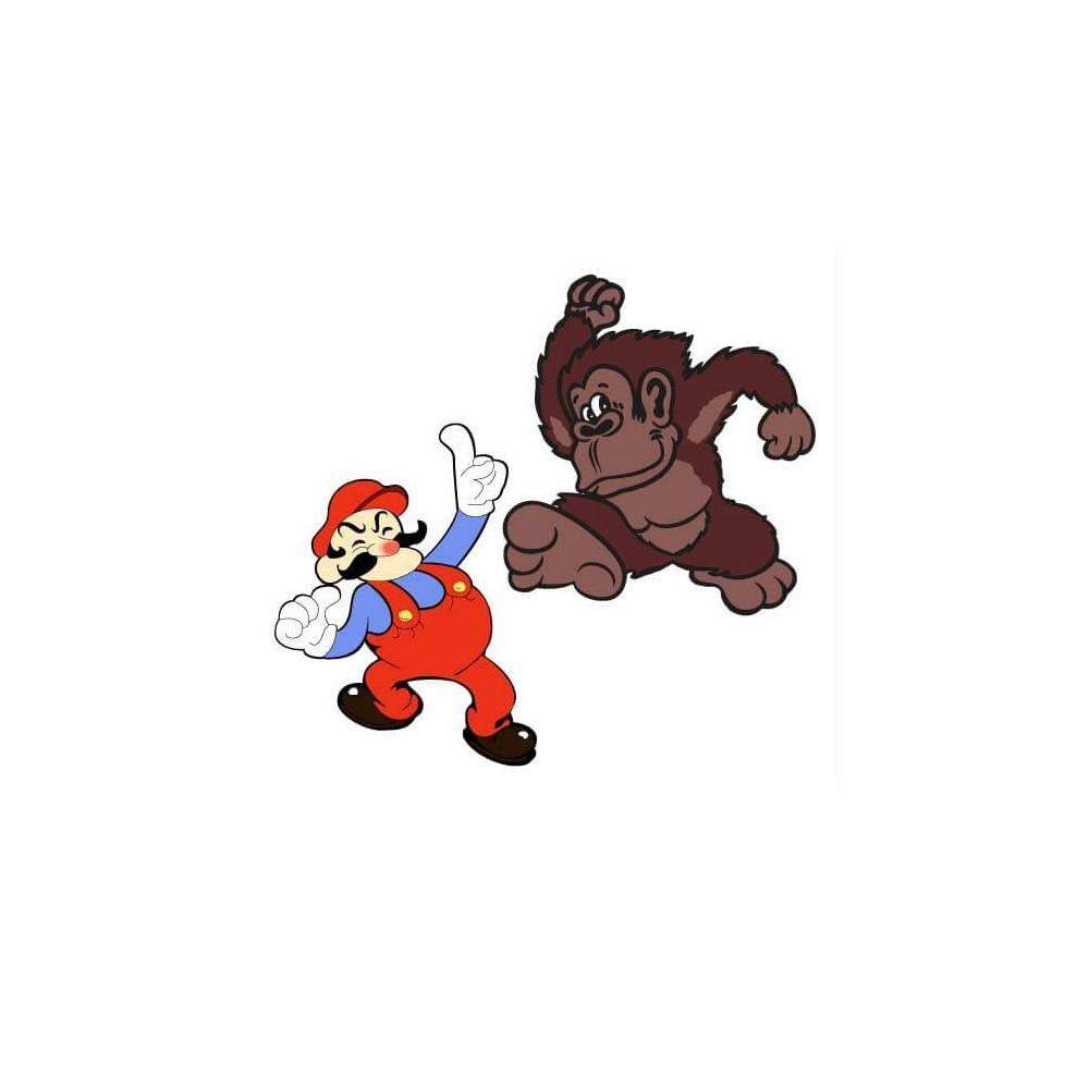Mario en DK side art arcade stickers