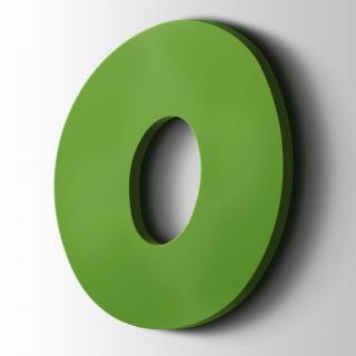 Kunststof Cijfer 0 Grobold Acrylaat 6018 Yellow Green