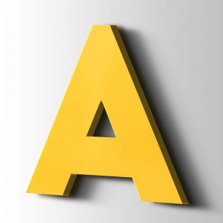 Kunststof Letter A Big John Acrylaat 1018 Zinc Yellow