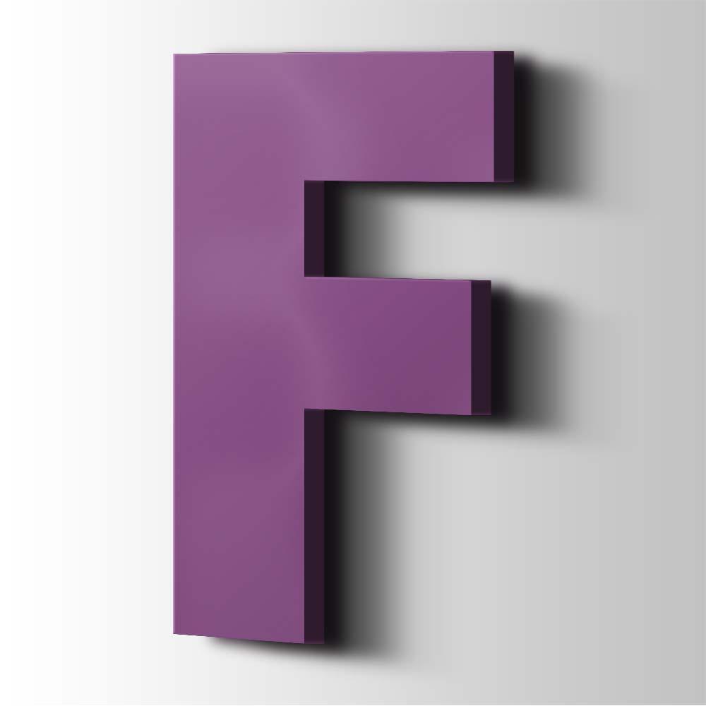 Kunststof Letter F Big John Acrylaat 4008 Signal Violet