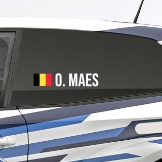 Bedenk en ontwerp je eigen rally naamsticker met Belgische vlag