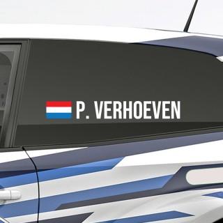 Bedenk en ontwerp je eigen rally naamsticker met Nederlandse vlag