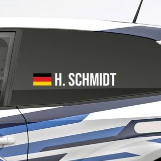 Bedenk en ontwerp je eigen rally naamsticker met Duitse vlag