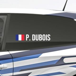 Bedenk en ontwerp je eigen rally naamsticker met Franse vlag