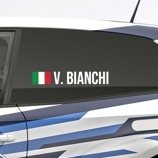 Bedenk en ontwerp je eigen rally naamsticker met Italiaanse vlag