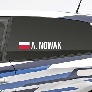 Bedenk en ontwerp je eigen rally naamsticker met Poolse vlag