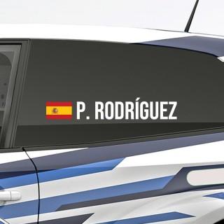 Bedenk en ontwerp je eigen rally naamsticker met Spaanse vlag