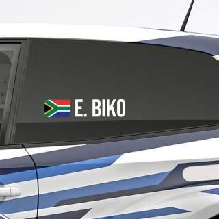 Bedenk en ontwerp je eigen rally naamsticker met Zuid-Afrikaanse vlag