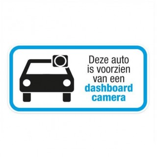 Dashcam deze auto is voorzien sticker