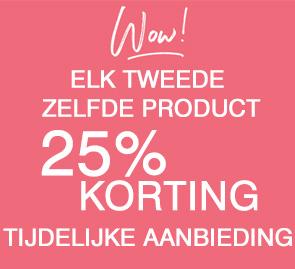 25% korting elk tweede zelfde artikel